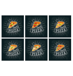 set slice pizza pepperoni hawaiian margherita vector image