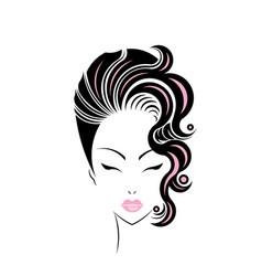 short hair style icon logo women face vector image