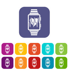 Smartwatch with sport app icons set vector