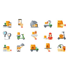 snacks ordering and delivery icon set web route vector image