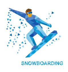 Snowboarding cartoon snowboarder during a jump vector
