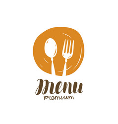 Spoon and fork logo food symbol for restaurant vector