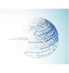 technology digital lines in 3d sphere style vector image