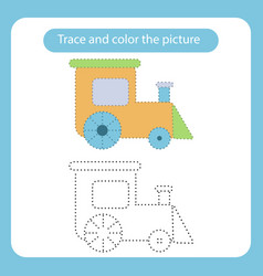 train toy with simple shapes trace and color the vector image