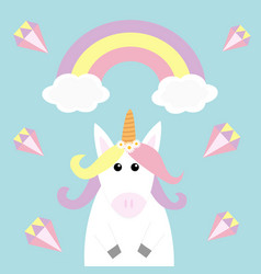 Unicorn holding rainbow cloud diamond brilliant vector