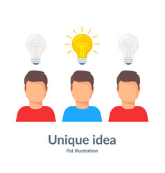 unique idea person with a light bulb head vector image