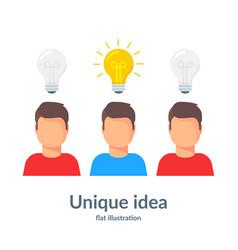 Unique idea person with a light bulb head vector