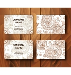 Vintage business cards set vector