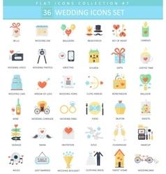wedding color flat icon set Elegant style vector image
