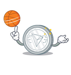With basketball tron coin character cartoon vector