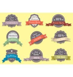 9 Premium Quality labels in retro colors vector image vector image
