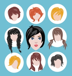 different girls hairstyle collection vector image