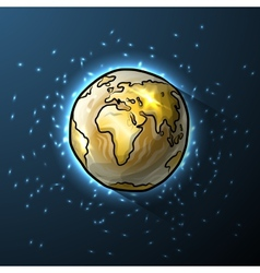 Golden doodle globe in space vector image