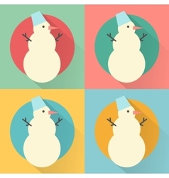 Happy New Year icon set of flat design snowman vector image