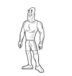 Man strong muscle bodybuilding sport image line vector