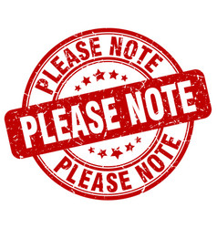 please note red grunge stamp vector image