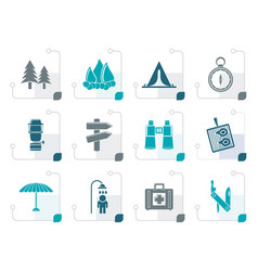 stylized camping travel and tourism icons vector image vector image