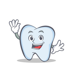 waving face tooth character cartoon style vector image vector image