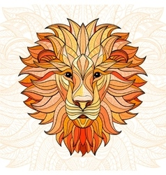 Detailed colored Lion in aztec style vector image vector image