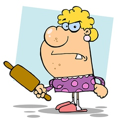 Angry Wife With A Rolling Pin vector image vector image