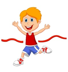 Cartoon boy ran to the finish line first vector image