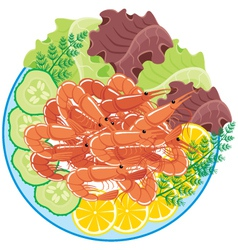 Dish from shrimps and vegetables vector image