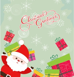 Merry christmas card with santa claus and gift 3 vector image vector image