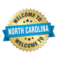North carolina 3d gold badge with blue ribbon vector
