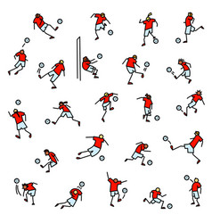 soccer players with ball icons set collection of vector image vector image