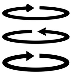 Three black arrows with part circles in flatness vector