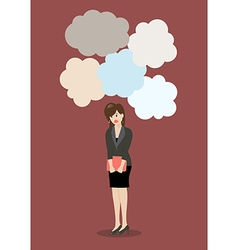 Business woman under a lot of trouble vector image vector image
