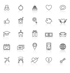 family line icons with reflect on white background vector image vector image