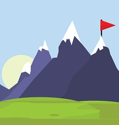 Flag on mountain vector image vector image