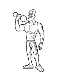 Man weight lifting bodybuilding sport image line vector