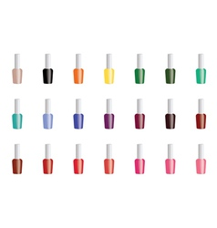 Set of color nail polish isolated on white vector image