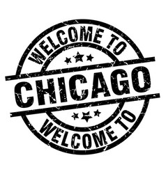welcome to chicago black stamp vector image vector image