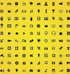 100 cinema icons vector image