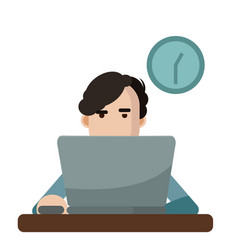 a man using a laptop vector image