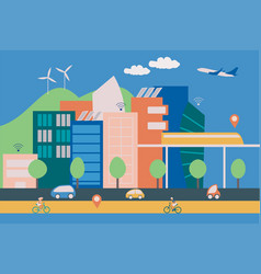 A modern smart city with contemporary buildings vector