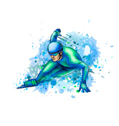 abstract speed skaters from splash watercolors vector image