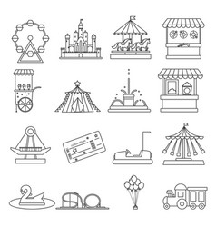 Amusement park lineart elements isolated vector