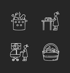 Babysitter service chalk white icons set on black vector