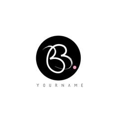 Bb handwritten brush letter logo design vector