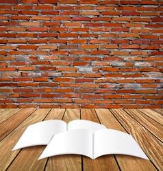 Blank catalog magazinesbook mock up on wood vector image