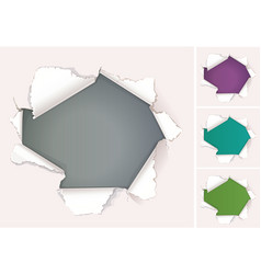 broken hole in paper with place vector image