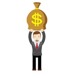 businessman holding money bag vector image