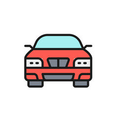 car automobile transport flat color line icon vector image