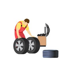 Car repair service mechanic repairman and tires vector