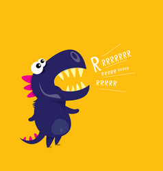 cartoon funny dragon cartoon dinosaur vector image