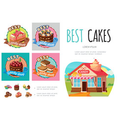 cartoon sweet products infographic concept vector image